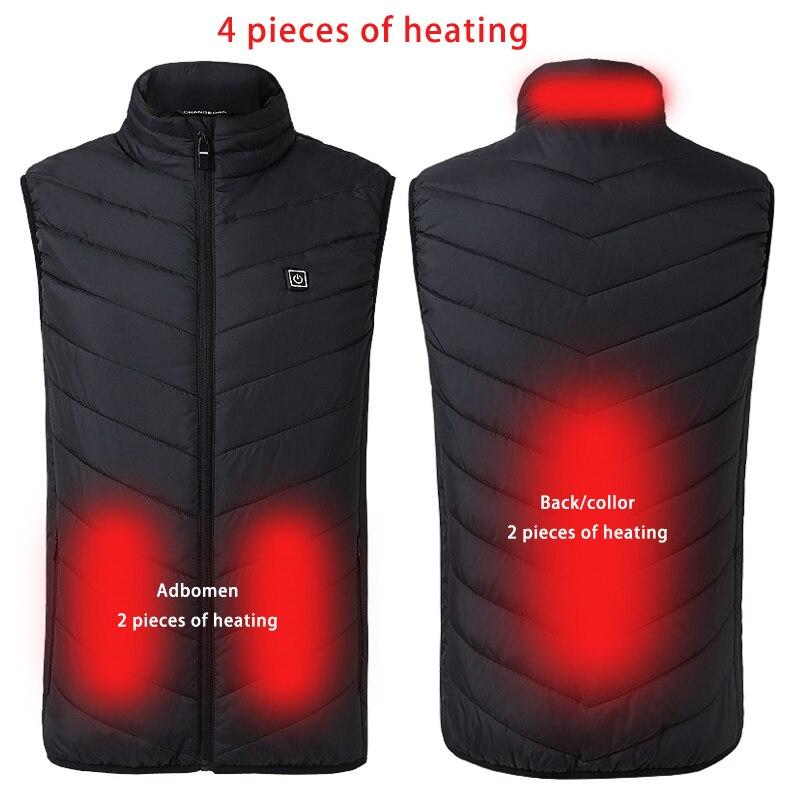 PARATAGO Sports Smart Battery Heating Vest Men Women Winter Self Heated Vest 4 Pieces Heating Parts Hiking Fishing Coat P809