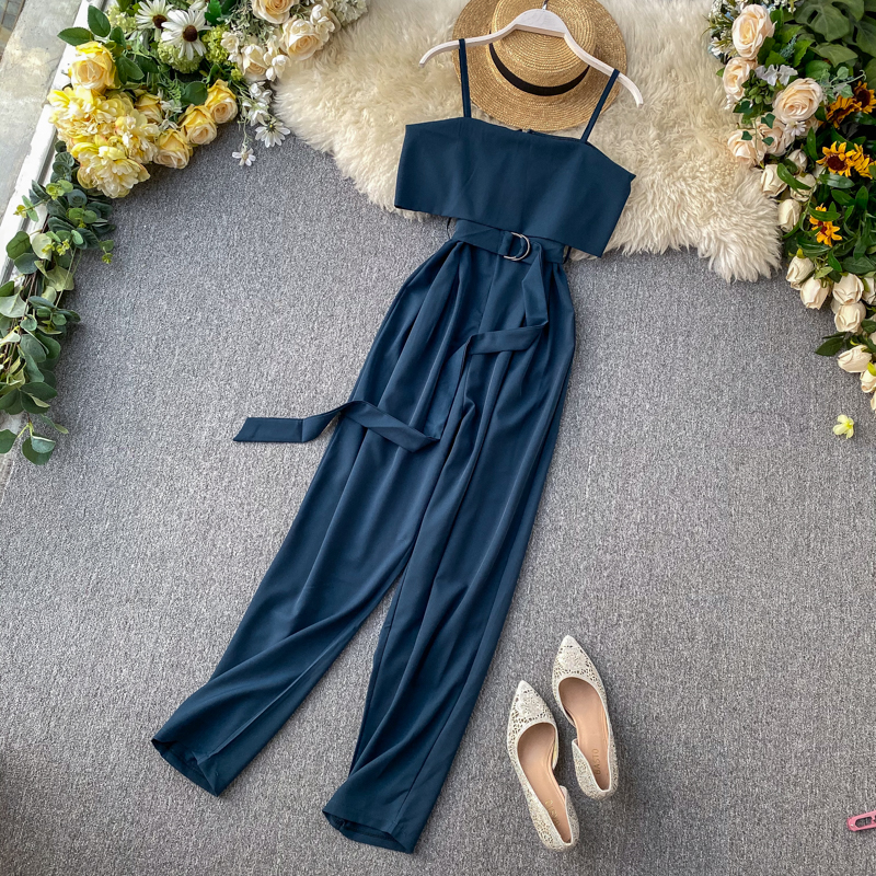 Slim Solid Ruffles Off Shoulder Sexy Summer Full Length Bandage Jumpsuit Casual Spaghetti Strap Women Playsuit Beach Tie Romper