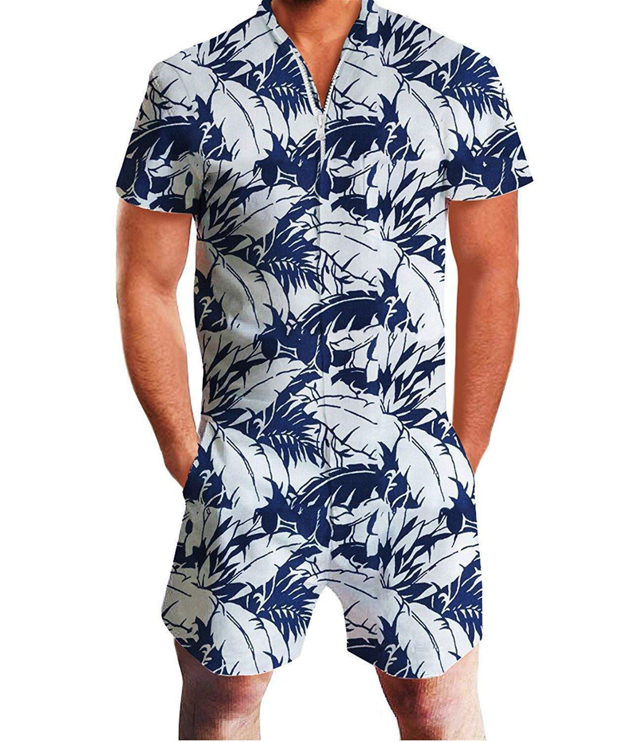 OLOEY Mens Leaves Printed One Piece Short Sleeve Zipper Rompers Summer Short Jumpsuit Overall Pants With Pocket  3D Male Romper
