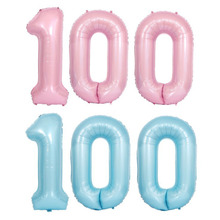 AVEBIEN 40 inch Pink Blue Aluminum Balloon Baby Shower Number 1 year old Hundred Days Birthday Party Decor Kids