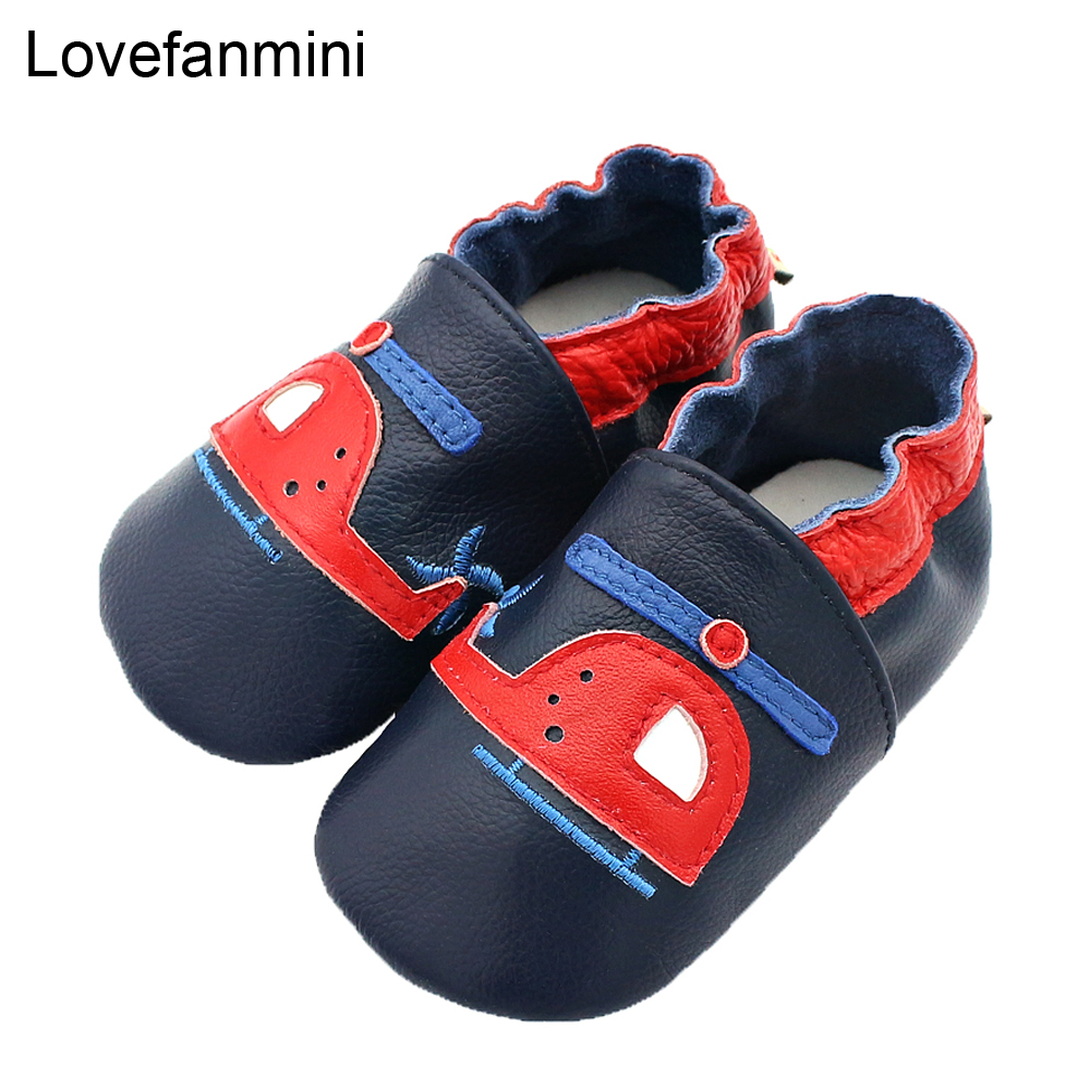 Baby Shoes Soft Genuine Cow Leather Baby Boys Girls Infant Toddler Moccasins Shoes Slippers First Walkers Non-slip Helicopter106