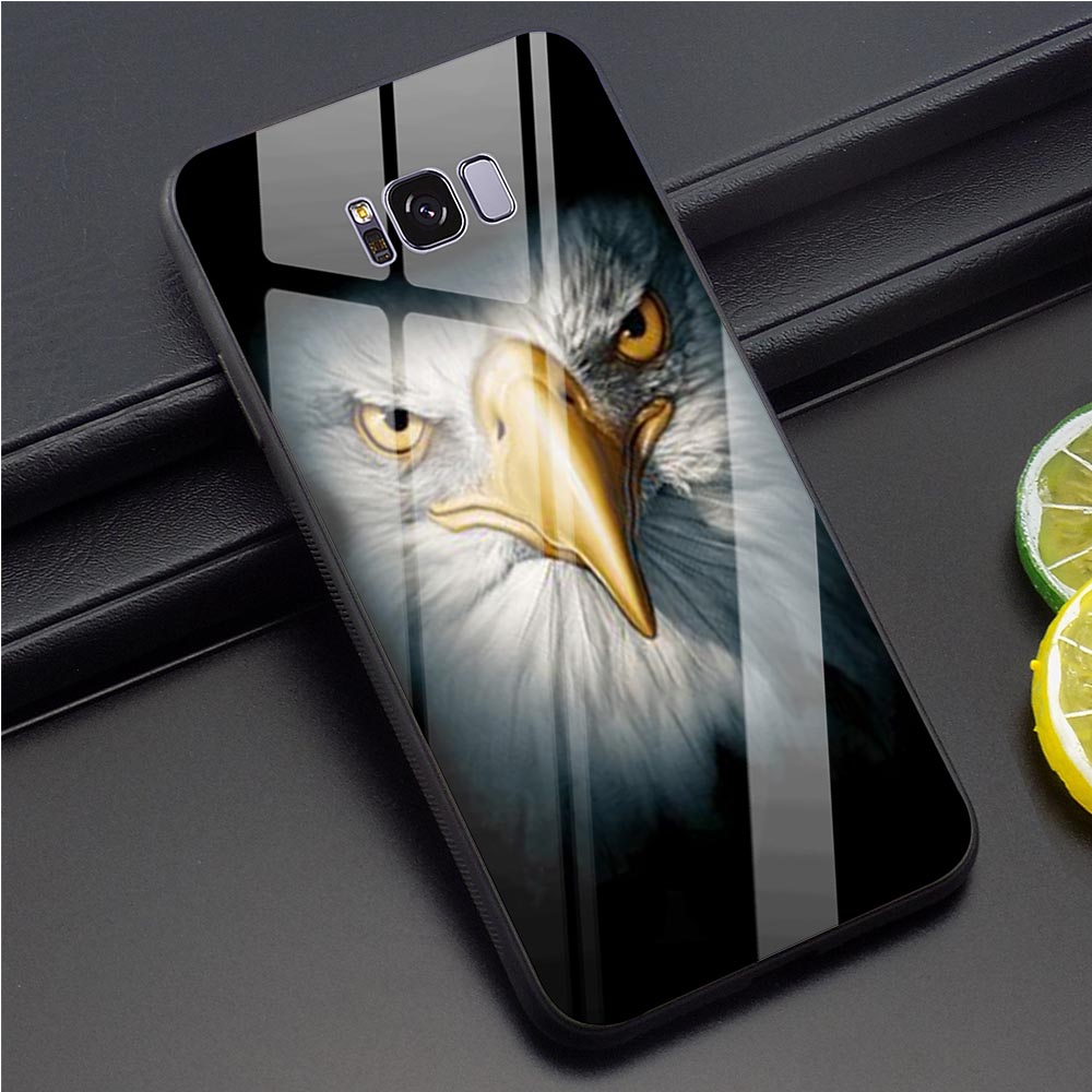 Eagle Tempered Glass Phone Cover for <font><b>Samsung</b></font> <font><b>Galaxy</b></font> S8 Hybrid Phone Cover for S7 Edge S8 S9 S10 A10 A20 A30 <font><b>A40</b></font> <font><b>Cases</b></font> image