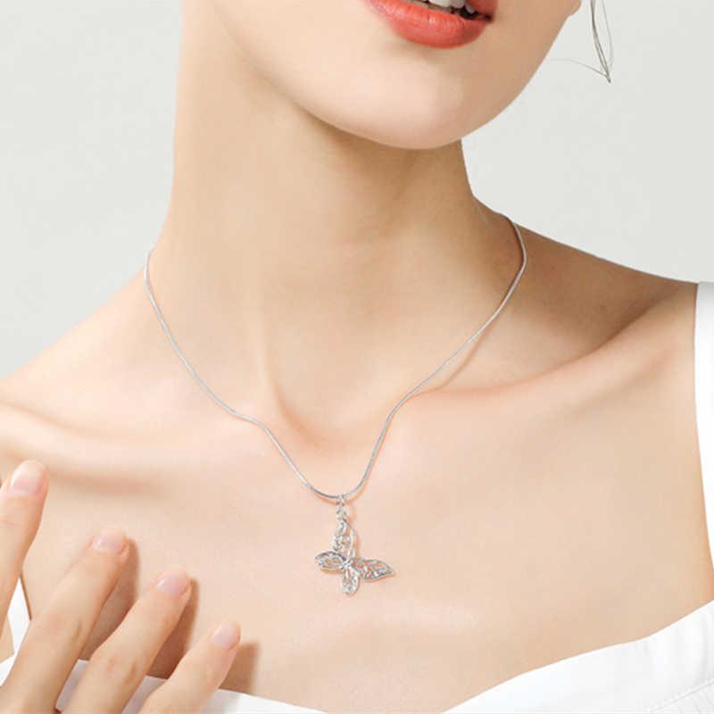 925 เงินสีผีเสื้อสร้อยคอจี้สำหรับผู้หญิง Elegant ผีเสื้อสั้นสร้อยคอเงินเครื่องประดับ