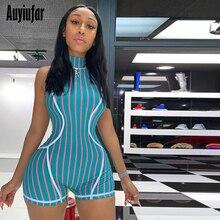 Auyiufar Casual Skinny Striped Women Palysuit Zipper Sleeveless Sporty Rompers 2019 Autumn New Fashion Streetwear Jumpsuits Slim