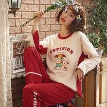 ロレーヌfernanda綿の女性のパジャマセット女性プリントパジャマセット長袖パジャマスーツナイトシャツセットセクシーなホームウェア