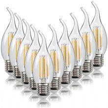 Edison c35 c35l lâmpada led e27/e14/e12 do vintage lâmpada 220v 2w 4w 6 de vidro transparente lâmpada de segurança de poupança de energia c35 c35l