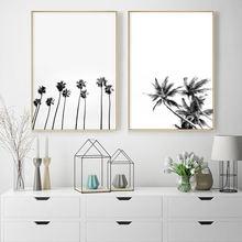 Черно белая Картина на холсте с рисунком пальмы трель океанская