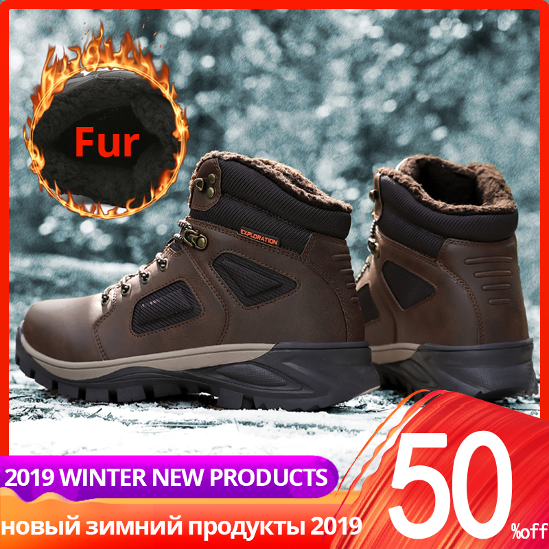 Winter Boots Men High Top Leather Casual Warm High Quality With Fur Plush Ankle Men Winter Shoes #XWA9703
