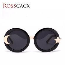 Rosscacx Vintage Round sunglasses women brand design star and moon luxury metal frame shades for women Oculos de sol stylish flecky round frame and golden leg design sunglasses for women