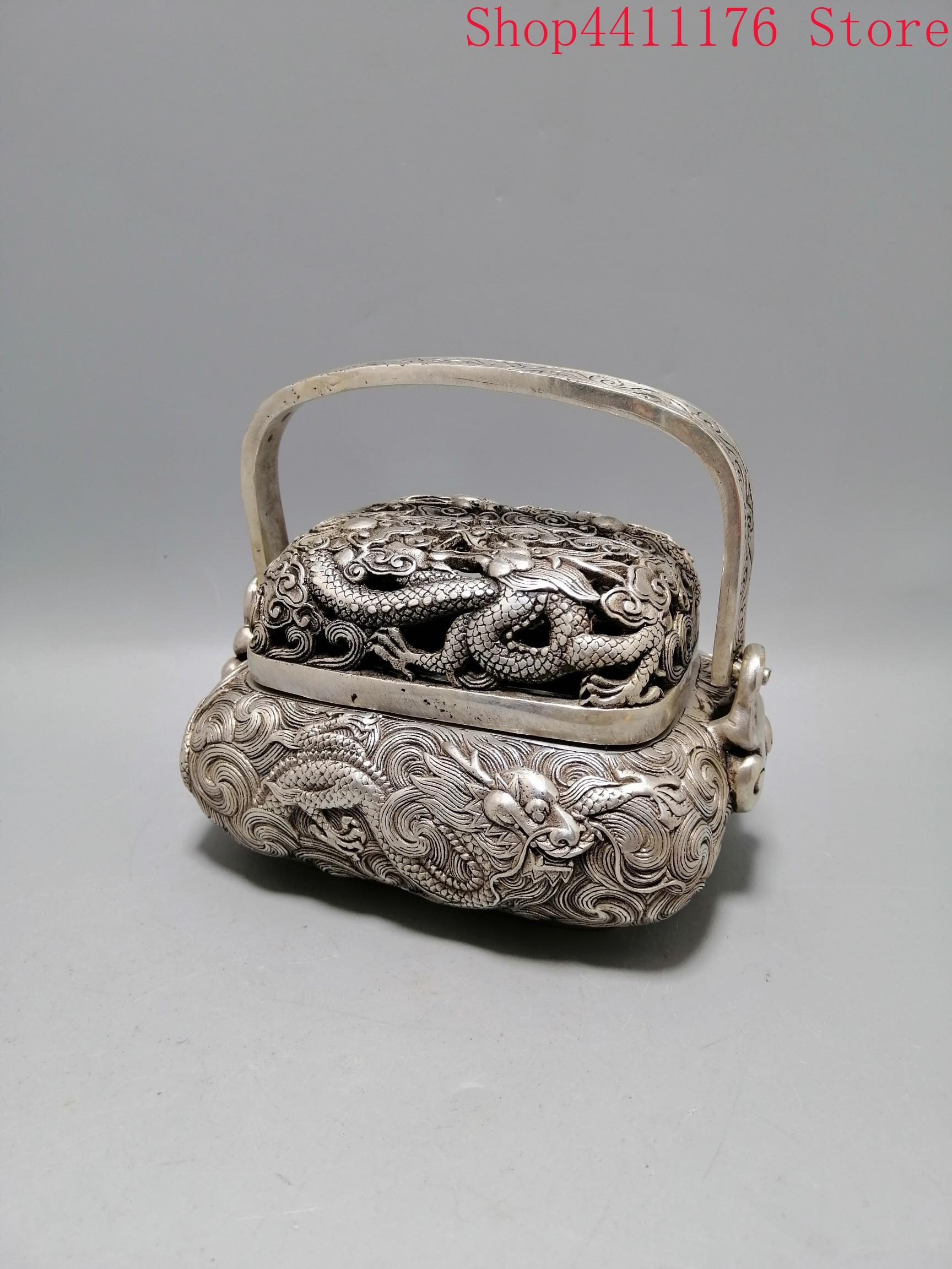 Um queimador de incenso quadrado esculpido raro na dinastia qing bronze dragão queimador de incenso - 6