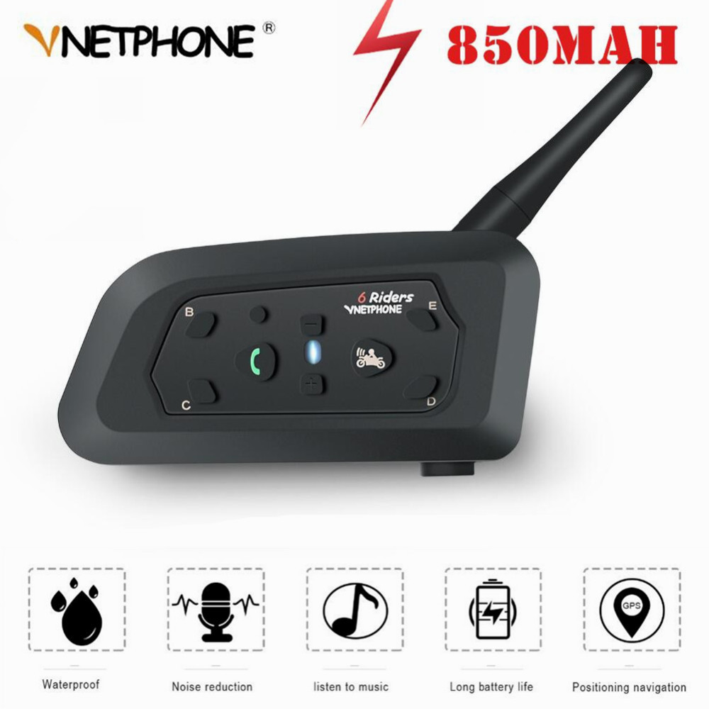 Motorcycle Intercom Helmet Bluetooth-Headset 6-Riders 1200m Wireless Pro for BT MP3 GPS title=