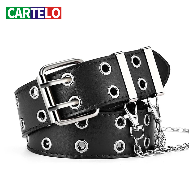Fashion Alloy women Belts Chain luxury for Genuine Leather New style Pin Buckle Jeans Decorative Ladies Retro Decorative Punk