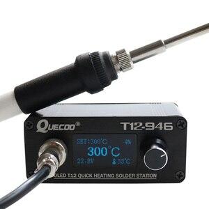 T12-946 Mini station de soudure électronique 1.3 pouces plus grand affichage contrôleur numérique avec 907 poignée en plastique soudage fer conseils