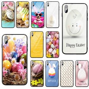 Szkło hartowane etui na telefon iPhone 5 5S SE 2020 X XR XS 11 Pro Max 10 7 6 6s 8 Plus torby jajko skorupa malowane wielkanoc