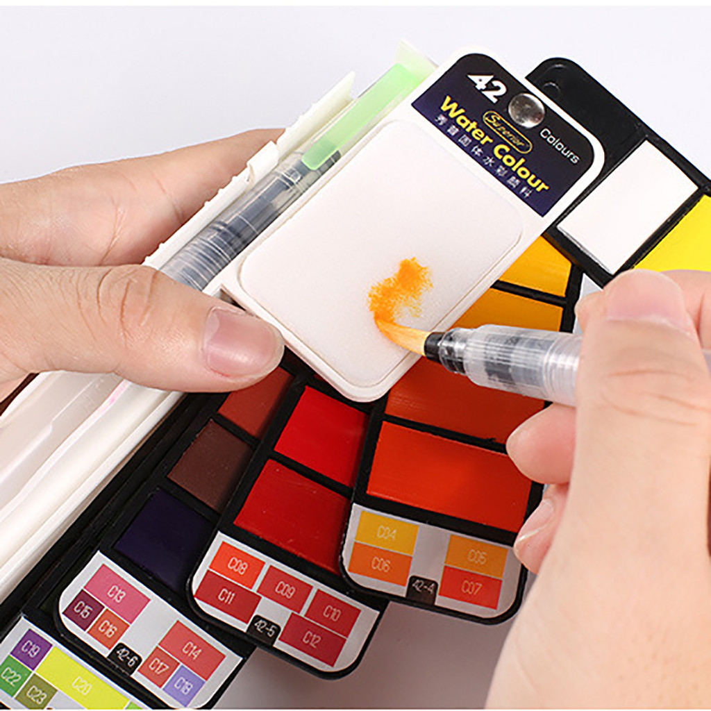 18/25/42 Color Portable Whirl Solid Watercolor Pigment Paint Set With Water Brush Bright Color For Drawing Art Supplies