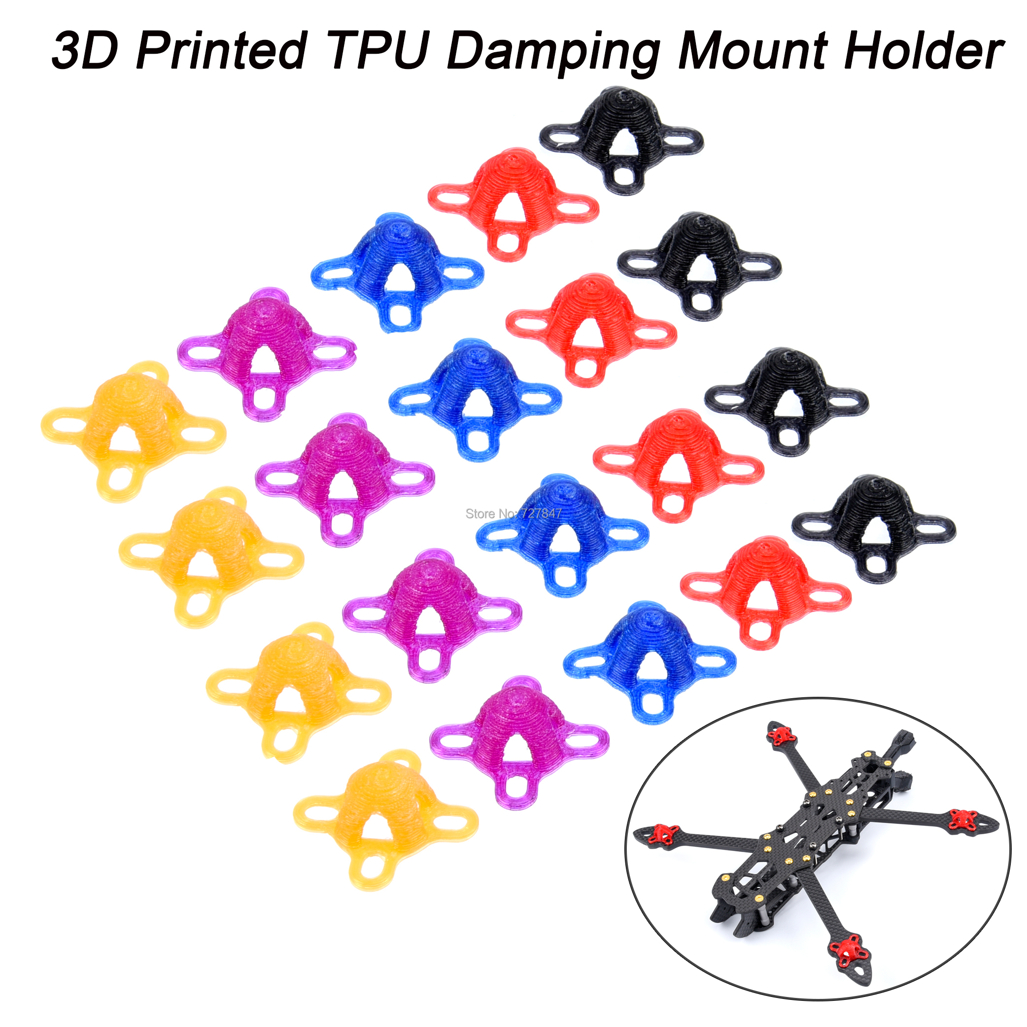 4PCS 3D Printed TPU Damping Mount Holder For 16x16 22 Series Brushless Motor Mark2 / Mark4 / LC7 RC Drone FPV Racing Spare Parts