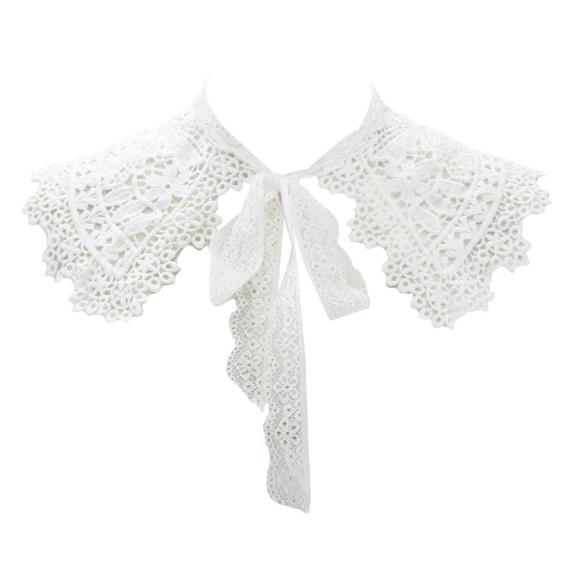Pastoral Style Womens Doll Fake Collar Hollow Out Floral Lace Half Shirt Shawl