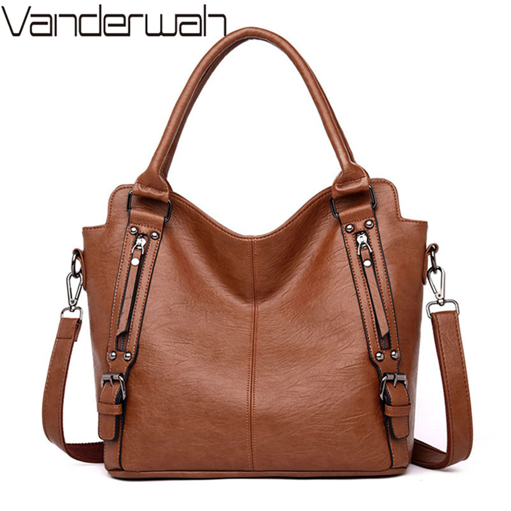 Vintage Soft Leather Luxury Handbags Women Bags Designer Large Ladies Hand Tote Bag Shoulder Crossbody Bags For Women 2019 Sac