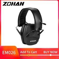 Zohan tiro eletrônico proteção da orelha nr22db som amplificação redução de ruído muffs orelha profissional caça orelha defender|Protetor auricular| |  -