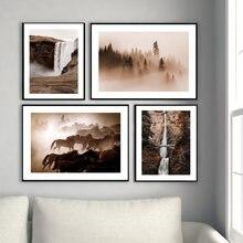 Современный пейзаж benson мост водопад плакат и печать лес лошадь