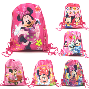 1Pcs Minnie Mouse Party Drawstring Bag Girl Travel School Backpack Kid Birthday Baby Shower Non-woven Gift Bag Supplies(China)
