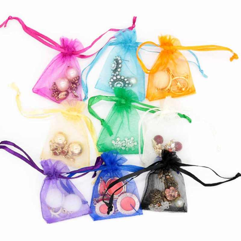 100pcs 7x9 10x12 13x18CM Organza Bags Jewelry Packaging Bags Wedding Party Decoration Drawable Bags Gift Pouches 6 Colors