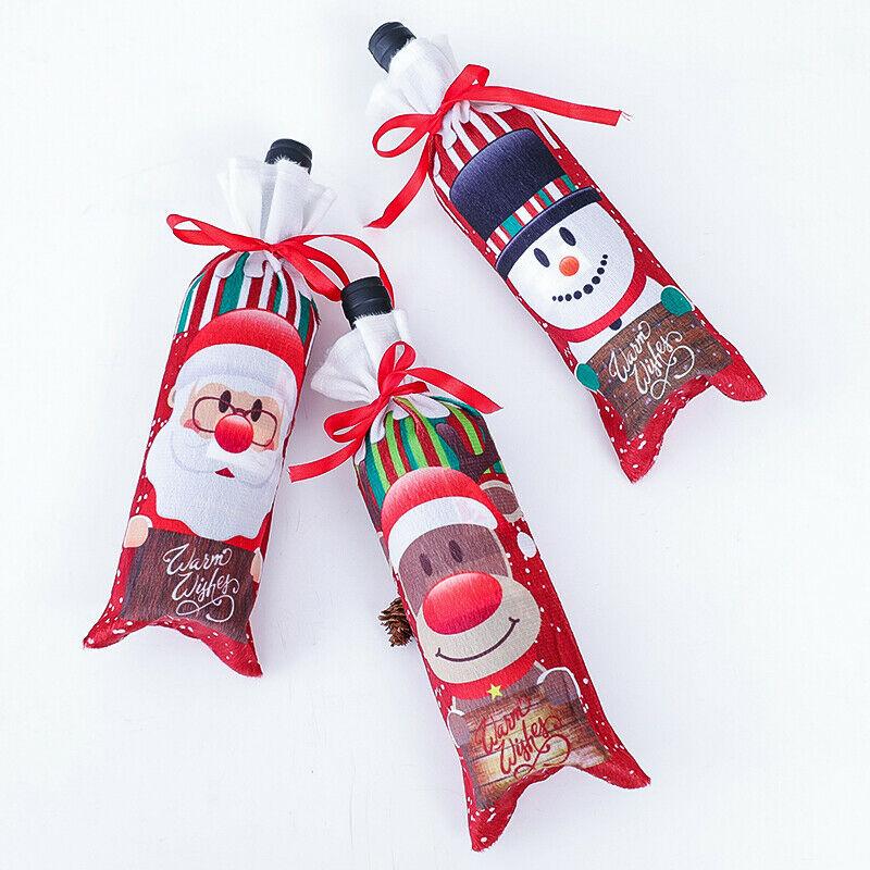 Christmas Santa Pants Bags Wine Stocking Bottle Cover Xmas Decor Gift Bag Xmas Dinner Decor Merry Christmas Wine Bottle Cover