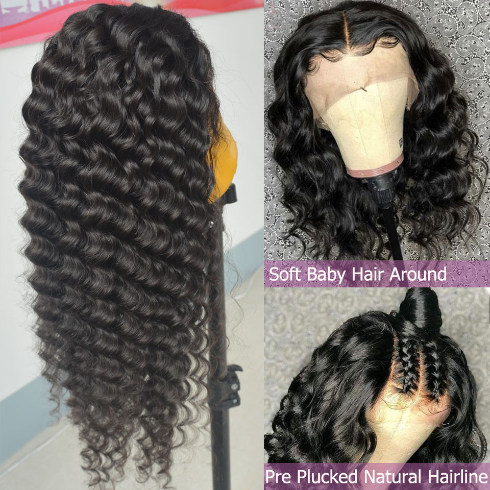 Glueless 13*6inch Lace Front Human Hair Wigs With Baby Hair Brazilian Remy Hair Deep Wave Human Hair Wig Pre Plucked Hairline
