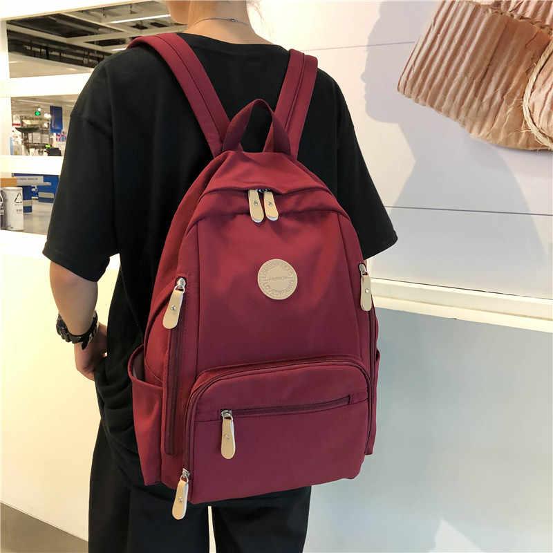 Dcimor mochila feminina impermeável multi-bolso, de nylon, de viagem, de escola para adolescentes