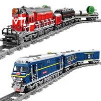 Kazi nova cidade trem função de energia bloco de construção diy tecnologia brinquedos técnica tijolos para crianças compatíveis todas as marcas ferroviário trein
