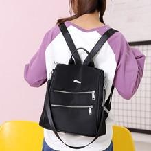 Anti-theft Travel Backpack Women Korean Fashion Waterproof Nylon Zipper Design Black Pink School Shoulder Bag