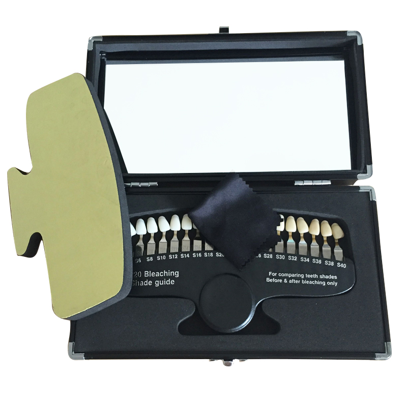 20 Colors Teeth Whitening 3D Shade Guide Color Comparator With Mirror Dentistry Cold Light Description Bleaching Dental Plate