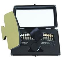 20 لون تبييض الأسنان ثلاثية الأبعاد أوراق تبييض اللون مقارنة مع مرآة طب الأسنان ضوء بارد وصف تبييض لوحة الأسنان