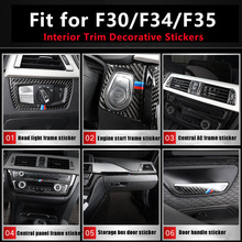 Carbon fiber Interior Trim Outlet CD Air Conditioning Central control Panel stickerFor F30 F34 F35 2013-2018 3 4 Series 3GT стоимость