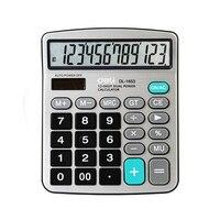 듀얼 파워 와이드 스크린 오피스 데스크탑 계산기 금융 컴퓨터 실버 calculadora 사무실 학교 용품 선물 caneta