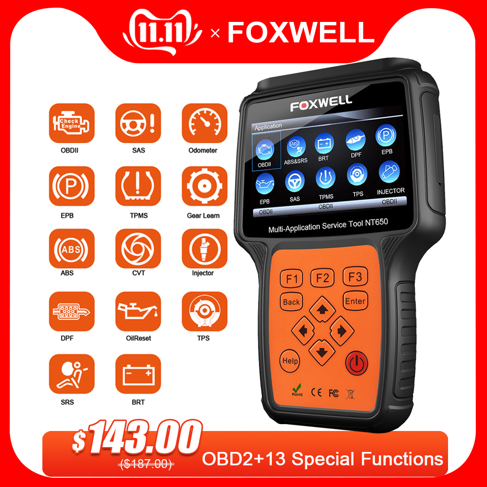 FOXWELL NT650 OBD2 Automotive Scanner ABS Airbag SAS DPF EPB Oil Reset Code Reader Professional Car Diagnostic Tool OBD2 Scanner