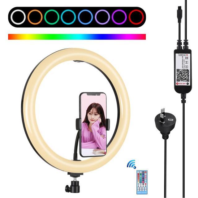 PULUZ 12 인치 링 라이트 삼각대 스탠드 전화 홀더 Dimmable RGB LED Selfie 링 조명 및 원격 사진 및 YouTube