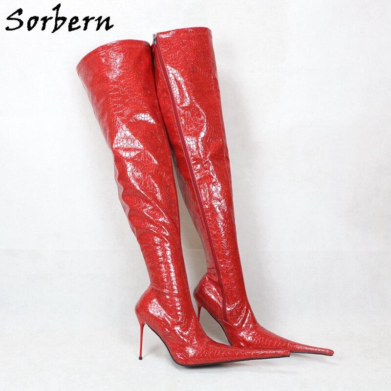 o joelho botas longas feitas sob encomenda
