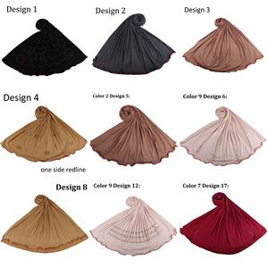 Hijab Scarf Jersey Women Shawls Diamonds Muslim with Design-New-Arrival Mix for One-Side-Redline