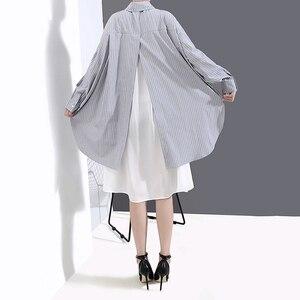 Image 5 - [Eam] feminino listrado emendado oversize camisa vestido nova lapela pescoço manga longa solto ajuste moda maré primavera outono 2020 1a882