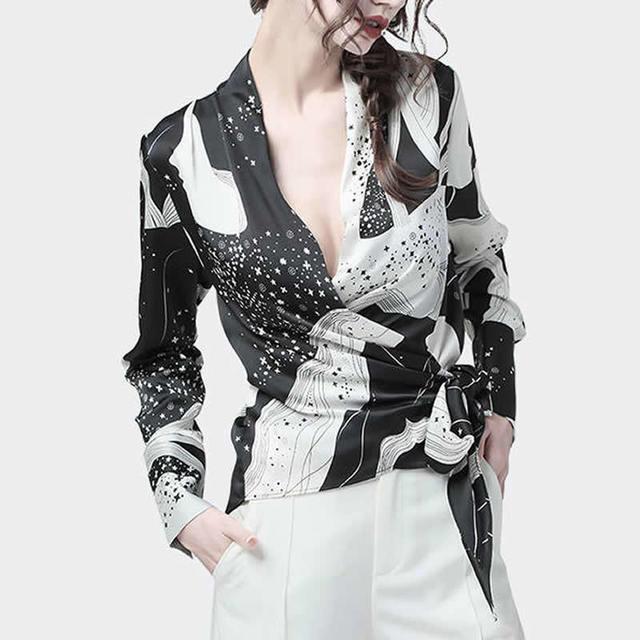 Fashion Chiffon Print Long Sleeve Women Blouses Korean V Neck Slim Harajuku Shirts Female Summer Elegant Blusas Mujer 3