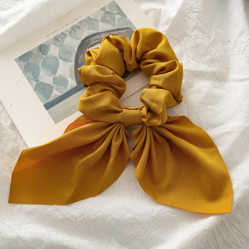 Новинка, шифоновые шелковые резинки для волос с бантом, женские жемчужные резинки для волос, резинки для волос, аксессуары для волос - Цвет: Yellow