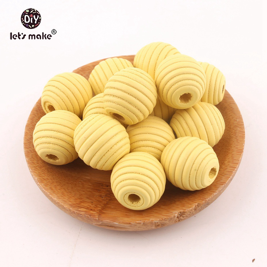 Let's Make Wood Teether Beads 200PCS 18mm Unfinished Non-toxic Natural Wooden Beads Screw Thread Carved Ball Bead Baby Teether