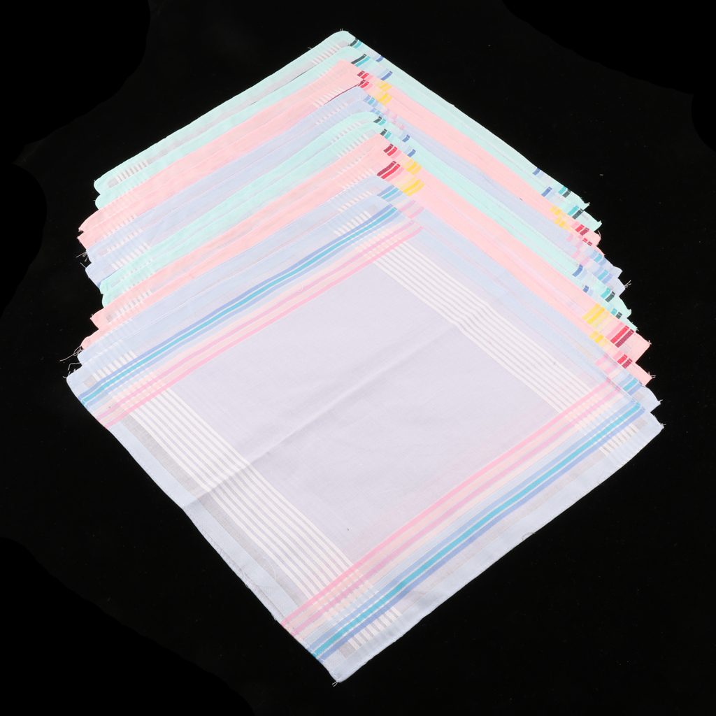 12 Pieces Mens Fashion Excellent Design 12 Pure Cotton Handkerchiefs Set Wedding Goods