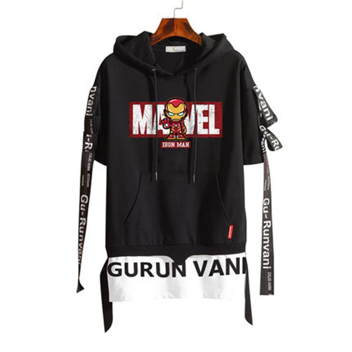 Marvel The Avengers 4 Железный человек Человек паук Дэдпул Халк светящийся Хэллоуин косплей костюм мужской короткий рукав футболка с капюшоном