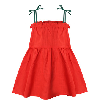 Summer Bow Suspender dress toddler girl kids dresses for girls baby clothes Linen Knee-Length Casual Sleeveless Solid Ball Gown kids girls summer dress red yellow solid color o neck flowers pattern a line knee length regular sleeveless girl dresses 5ds274