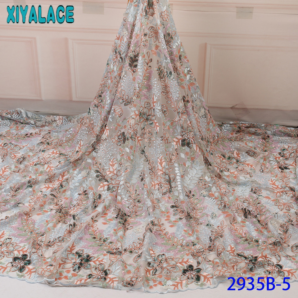 High Quality Sequined Lace Fabric,Net Lace Fabric Sequins Wedding,Printed Fabric Lace For African Clothes KS2935B-5