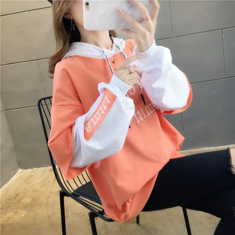 NEW Cotton Tops Shirt Female Embroidery Winter Women Sweatshirt Korean Style Letter Modis Casual Harajuku Oversized Hoodies