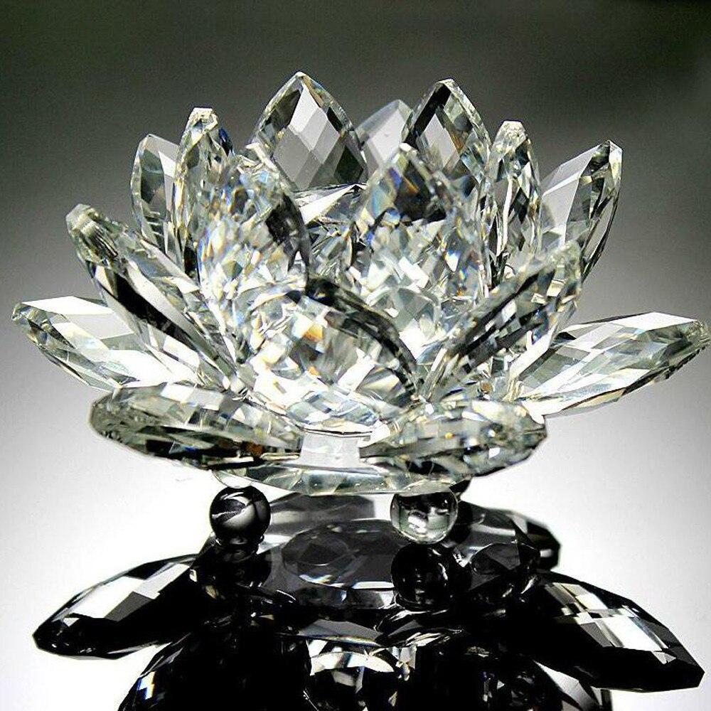 Pierre de Lotus en verre naturel, cristal naturel, fleur, Feng Shui, décoration, pour la maison ou le café