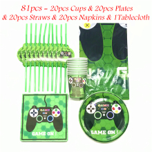 31/51/61/81pcs Green Game On Theme Cartoon Paper Tableware Birthday Party Supplies Game On Cartoon Cup Plate Straw  Napkin
